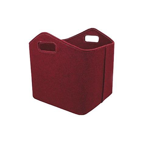 Panier à bûches en feutre rouge