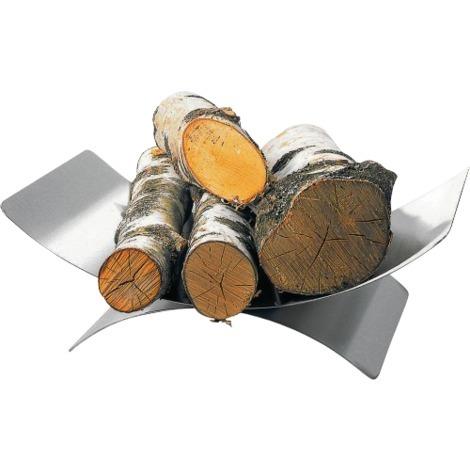 Panier à bûches inox brossé mat