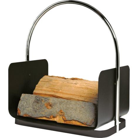 Panier à bûches noir avec poignée chromée