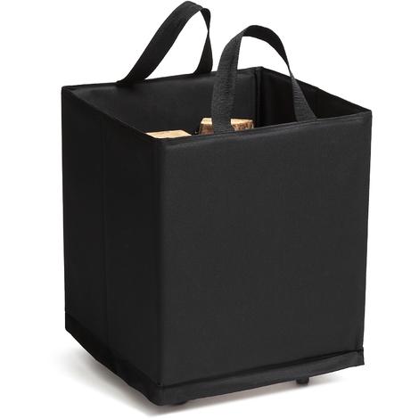 Panier à bûches Poly Noir sur roulettes 45x45x52