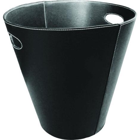 Panier à bûches rond en simili-cuir noir