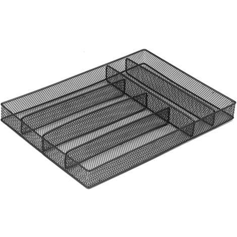 Panier a couverts en metal en fer forge 6 grilles separe carre restaurant panier a couverts de cuisine panier de rangement de bureau noir