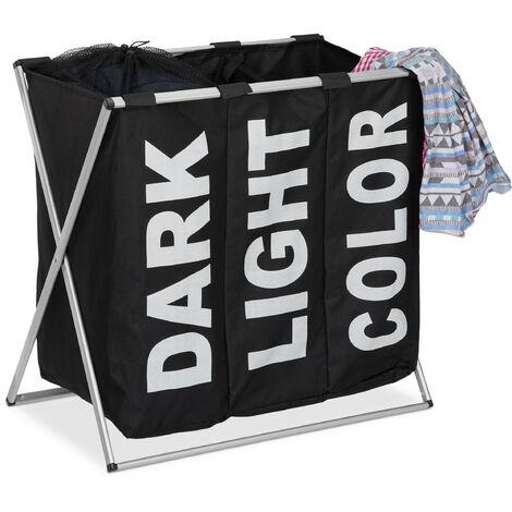 Panier à linge 3 compartiments 90 litres corbeille bac sac a linge cadre pliable pliant, noir