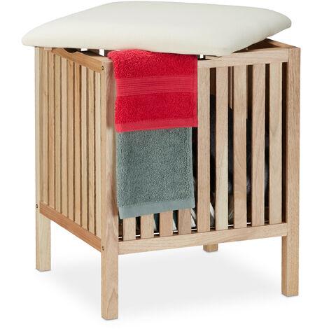 Panier à linge avec siège, Tabouret de salle de bain, rangement, 40l, bois/tissu, 51x41x41 cm, naturel/blanc