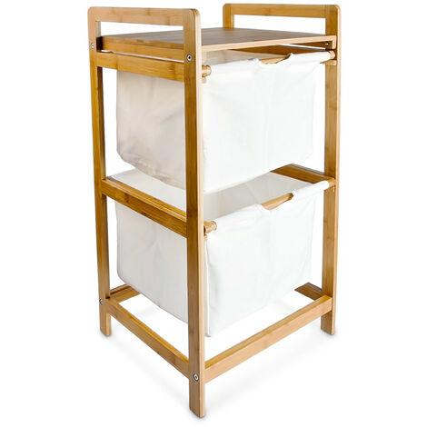 panier linge bambou 2 tages 2 compartiments sac en. Black Bedroom Furniture Sets. Home Design Ideas