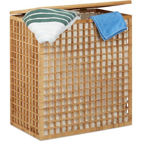 Panier à linge bambou coffre à linge 2 compartiments corbeille sac linge 96 litres HxlxP: 62x56x35 cm, nature