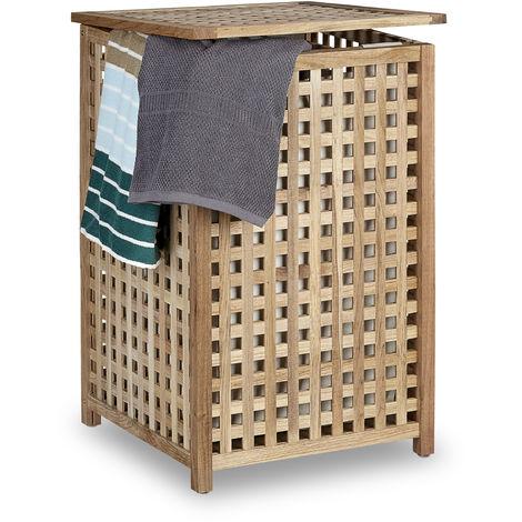 Panier à linge bois noyer corbeille à linge couvercle HxlxP 67,5 x 45,7 x 45 cm capacité 75L trieur de linge lessive bois sac en lin, couleur naturelle
