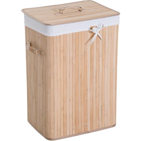 Panier à linge corbeille à linge bac à linge bambou pliable couvercle sac amovible 3 poignées PU 40L x 30l x 60H cm beige