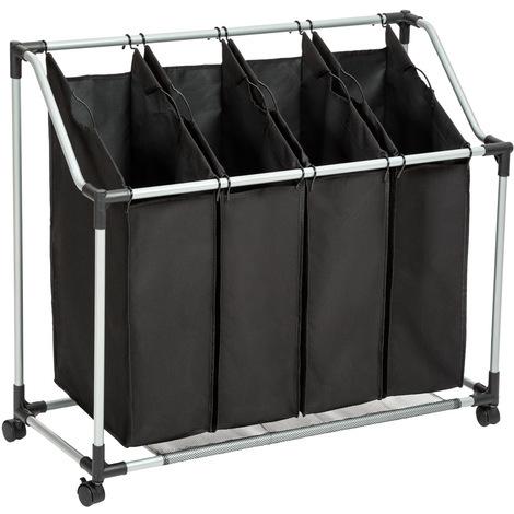 Panier à linge, Corbeille à linge, Bac à linge, Chariot à linge, Panier à linge sale 4 Compartiments Noir - Structure acier