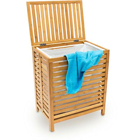 Panier à linge corbeille bambou coffre bois sac rangement HxLxP: 60x50,5x35,5cm bac à vêtement avec couvercle