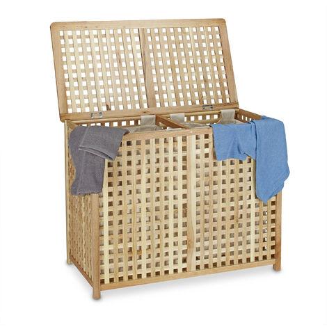 Panier à linge duo en bois de noyer coffre à linge double bac HxlxP 46,1 x 87,9 x 68,1 cm 2 compartiments 2 sacs à linge en lin blancs, couleur naturelle