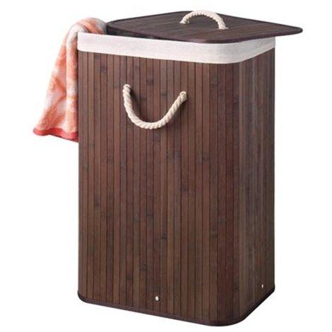 Panier à linge en bambou - rectangulaire - brun