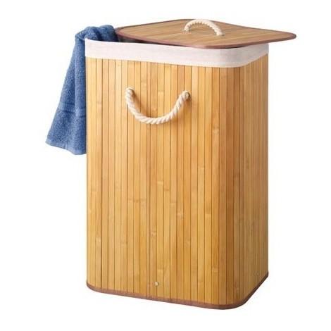Panier à linge en bambou - rectangulaire - naturel