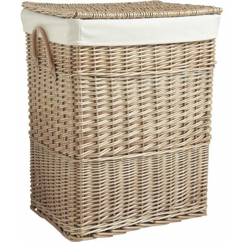 panier linge en osier doubl beige kli2251c. Black Bedroom Furniture Sets. Home Design Ideas