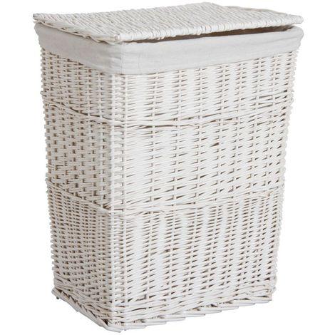Panier à linge en osier laqué blanc 46 x 34 x 60 cm - Blanc