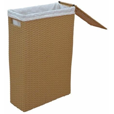 Panier à linge en poly-rotin beige avec tissu de protection - Beige
