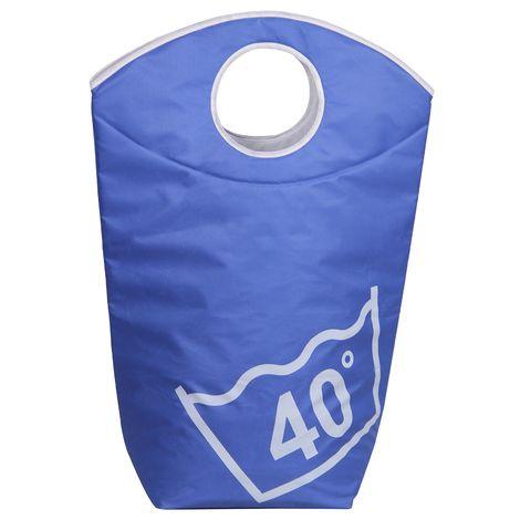 Panier à linge LAUNDRY corbeille bac en polyester de coloris bleu clair, avec poignée et inscription