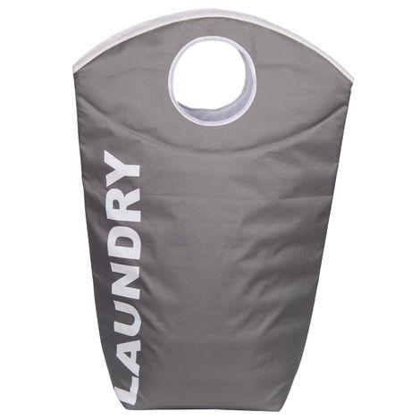 Panier à linge LAUNDRY corbeille bac en polyester de coloris gris, avec poignée et inscription