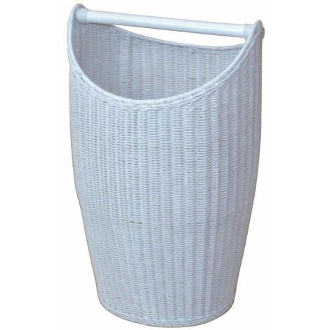 Panier à linge / panier de rangement en rotin blanc tissé à la main - blante