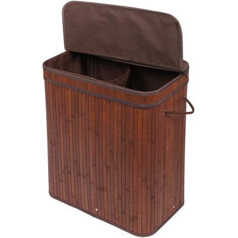 Panier à Linge Pliable en Bambou, Corbeille à Linge avec 2 Compartiments et Sac Amovible Lavable Naturelle, 100L