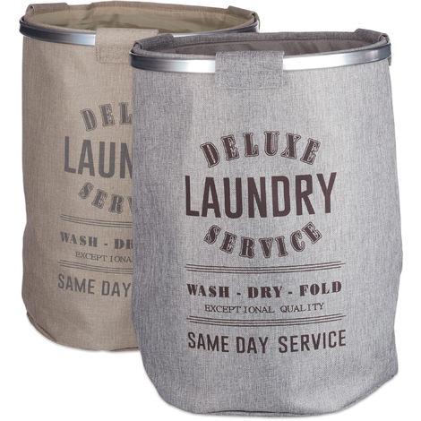 Panier à linge set de 2 gris beige en tissu sac à linge pliable vintage corbeille H x Ø: 60 x 45 cm 80 litres lin