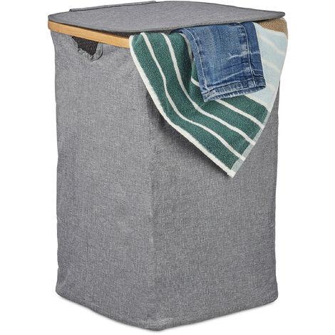 Panier à linge tissu bambou, Coffre à linge pliable, Corbeille à linge avec couvercle, 42 L, gris