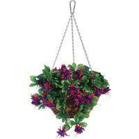 Panier à suspendre fleurs artificielles avec chaine