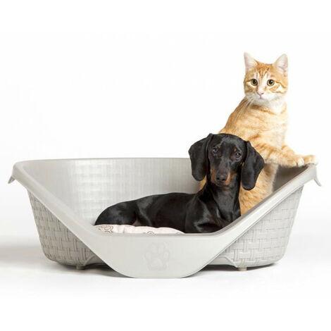 Panier aspect rotin 60 x 44 x 21 cm H pour chien gamme Nido