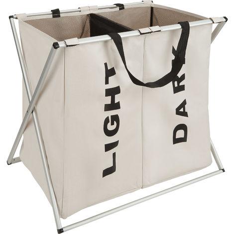 panier linge sale pliable 2 compartiments 96 l en. Black Bedroom Furniture Sets. Home Design Ideas
