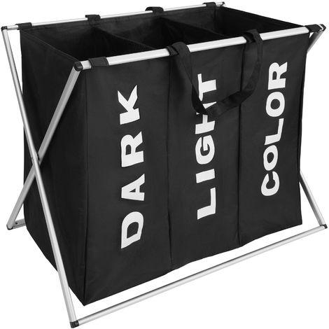 panier bac corbeille linge 3 compartiments pliant 65 cm x 37 5 cm x 56 5 cm noir 402962
