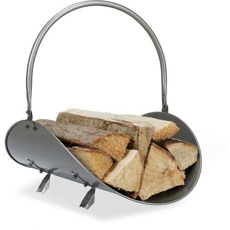 Panier bois de chauffage, métallique, bûches, HlP: 43x34x48 cm, design moderne, panier ovale journaux, argenté