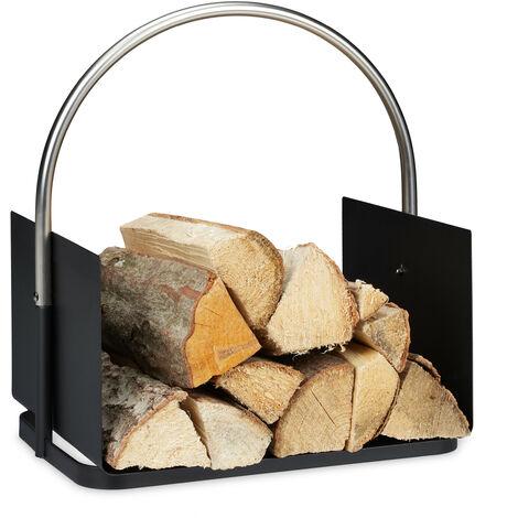 Panier bois de chauffage, pour cheminée, en métal, poignée nickelée, corbeille bûches, HxlxP 43,5x40,5x30 cm