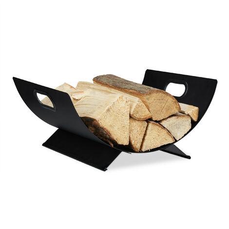 Panier bois de cheminée, en métal, corbeille pour rangement de bûches, 18,5 x 40 x 33 cm; gros panier noir