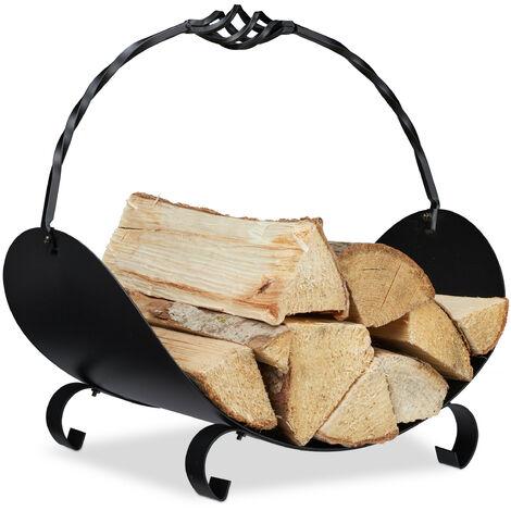 Panier bois de cheminée, métallique, pour bûches avec anse, HlP: 42,5 x 43,5 x 30 cm; intérieur, panier bûches