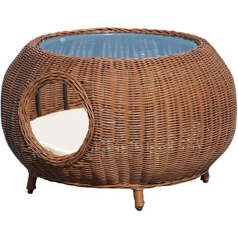 Panier chat cosy grand confort table basse 2 en 1 coussin amovible déhoussable résine tressée marron