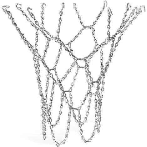 Panier de basket-ball d'extérieur en filet de basket-ball en argent avec crochet en S - Taille standard Pro (remplacement) en métal robuste et durable - Panier de basket pour les chambres