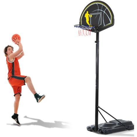 Panier de Basket-Ball sur pied amovible avec poteau panneau et roulettes hauteur reglable 1,9 - 3,05 m noir