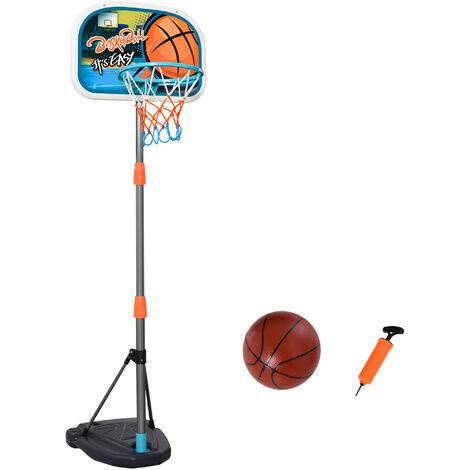 Panier de basket-ball sur pied avec poteau base lestage panneau + ballon + pompe hauteur réglable 1,26 – 1,58 m - Orange