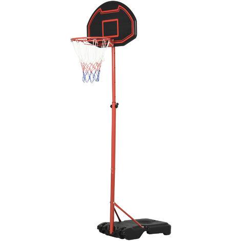 Panier de Basket-Ball sur pied avec poteau panneau, base de lestage sur roulettes hauteur réglable 1,55 - 2,1 m rouge noir