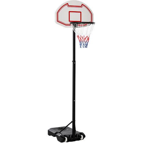 Panier de Basket-Ball sur pied avec poteau panneau, base de lestage sur roulettes hauteur réglable 1,9 - 2,5 m noir blanc