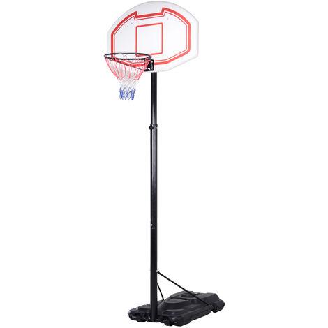 Panier de Basket-Ball sur pied avec poteau panneau, base de lestage sur roulettes hauteur réglable 2,50 - 3,05 m noir blanc