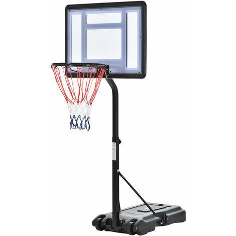 Panier de Basket-Ball sur pied avec poteau panneau, base de lestage sur roulettes hauteur réglable panier 1,1 - 1,3 m noir blanc