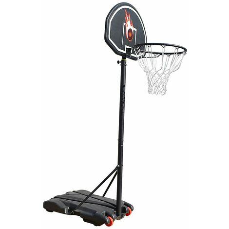 Panier de Basket réglable en hauteur sur Pied avec Roulettes 73*53*246cm Noir-blanc