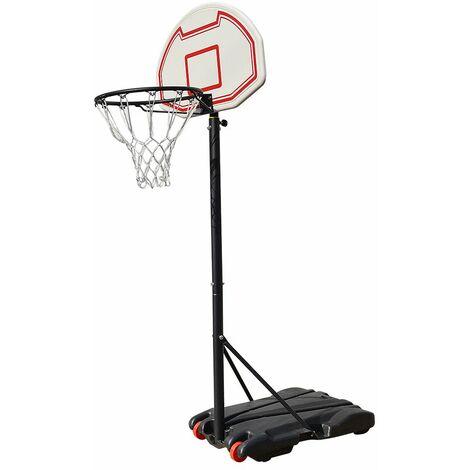 Panier de Basket réglable en hauteur sur Pied avec Roulettes 73*53*246cm Rouge-blanc