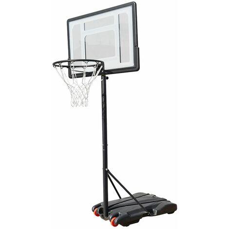 Panier de Basket réglable en hauteur sur Pied avec Roulettes 82*58*245cm Noir