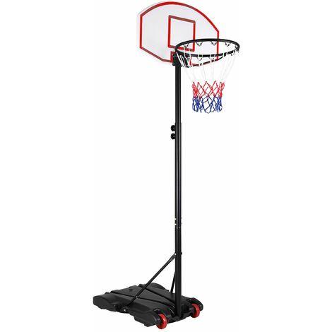 Panier de basket sur pied avec roulettes réglable hauteur 179 à 209cm mobile jeu extérieur ballon enfant adulte 30kg de sable ou 25 L d'eau