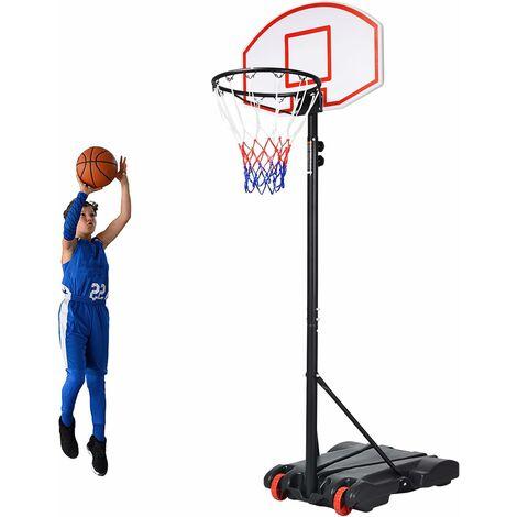 Panier de Basket sur Pied Enfant Adulte Hauteur 178-208cm Réglable Mobile avec Roues