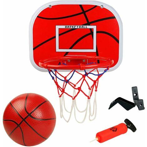 Panier de Basketball avec Basket-Ball Et Pompe Jante en Métal Hoop Fitness Basket en Plein Air Intérieur Jouet pour Enfant Fille Garcon 3 4 5 Ans