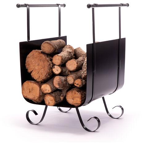 Panier de bois de chauffage en acier noir avec double poignée