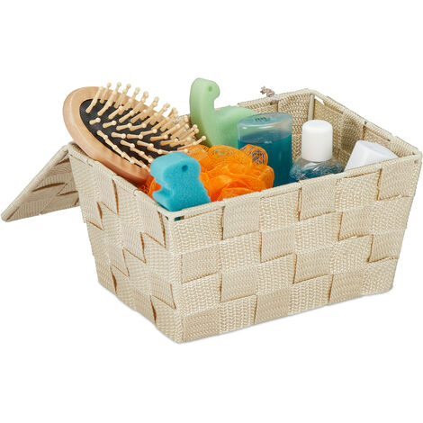 Panier de rangement avec couvercle, rangement dans le bain, PP en tresses HxlxP 10,5 x 19,5 x 14,5 cm, choix de couleurs